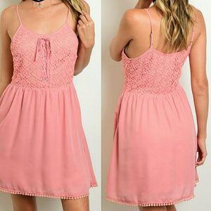 Dresses & Skirts - Tie Neck A-Line Crochet Lace Up Sundress